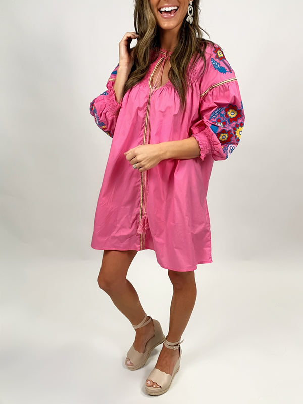 Embroidered Tunic | Bright Pink