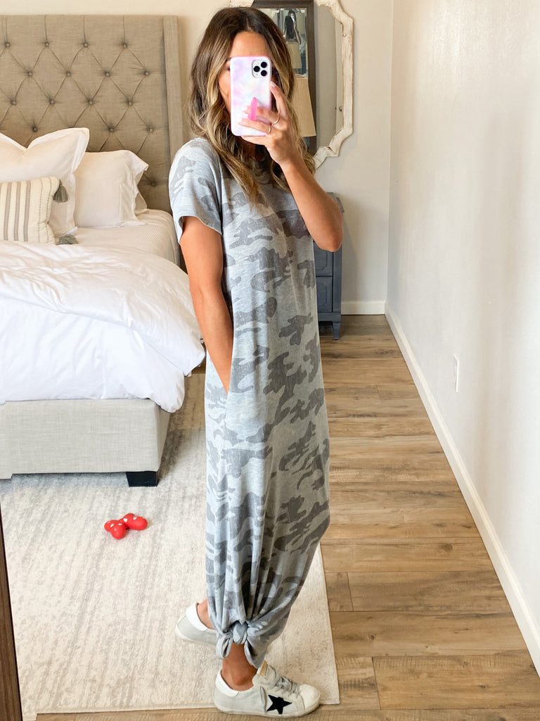 Steel Camo Maxi Dress | +Plus Available