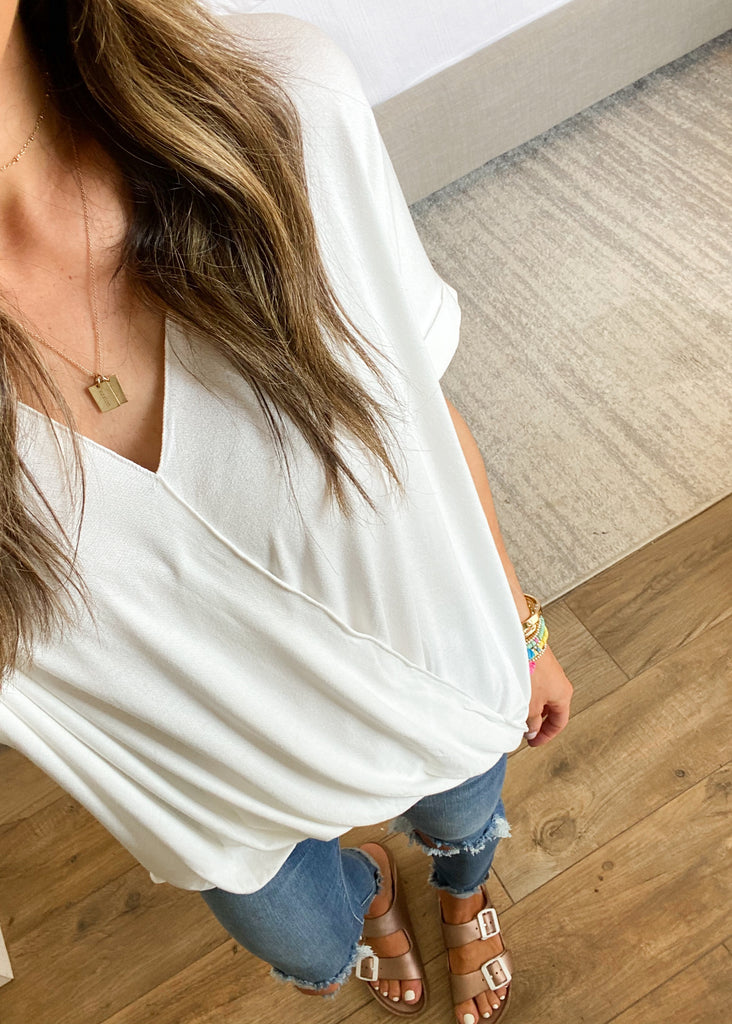 Hampton Wrap Top | Ivory