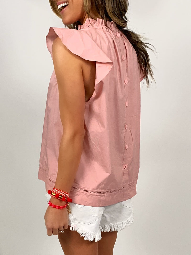 Flutter-Sleeve Cotton Blouse | Pale Pink FINAL SALE