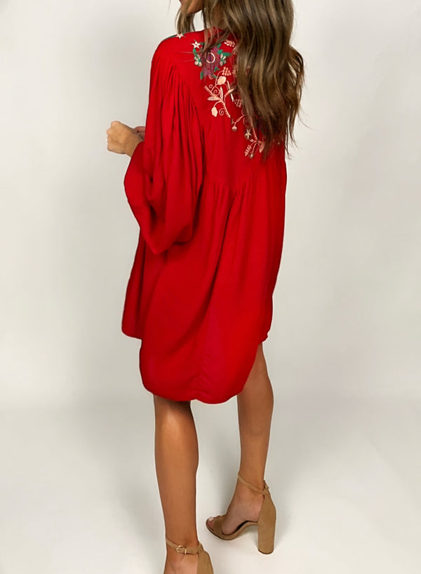 Embroidered Babydoll Dress | Red
