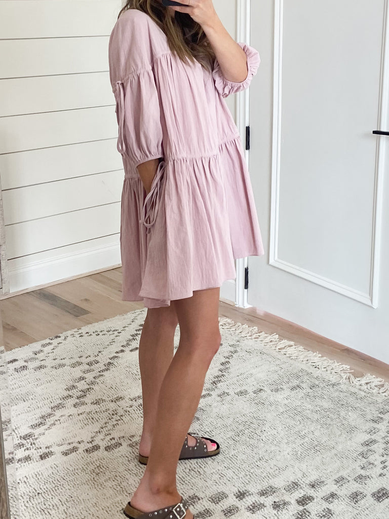 Carter Balloon Sleeve Dress | Blush