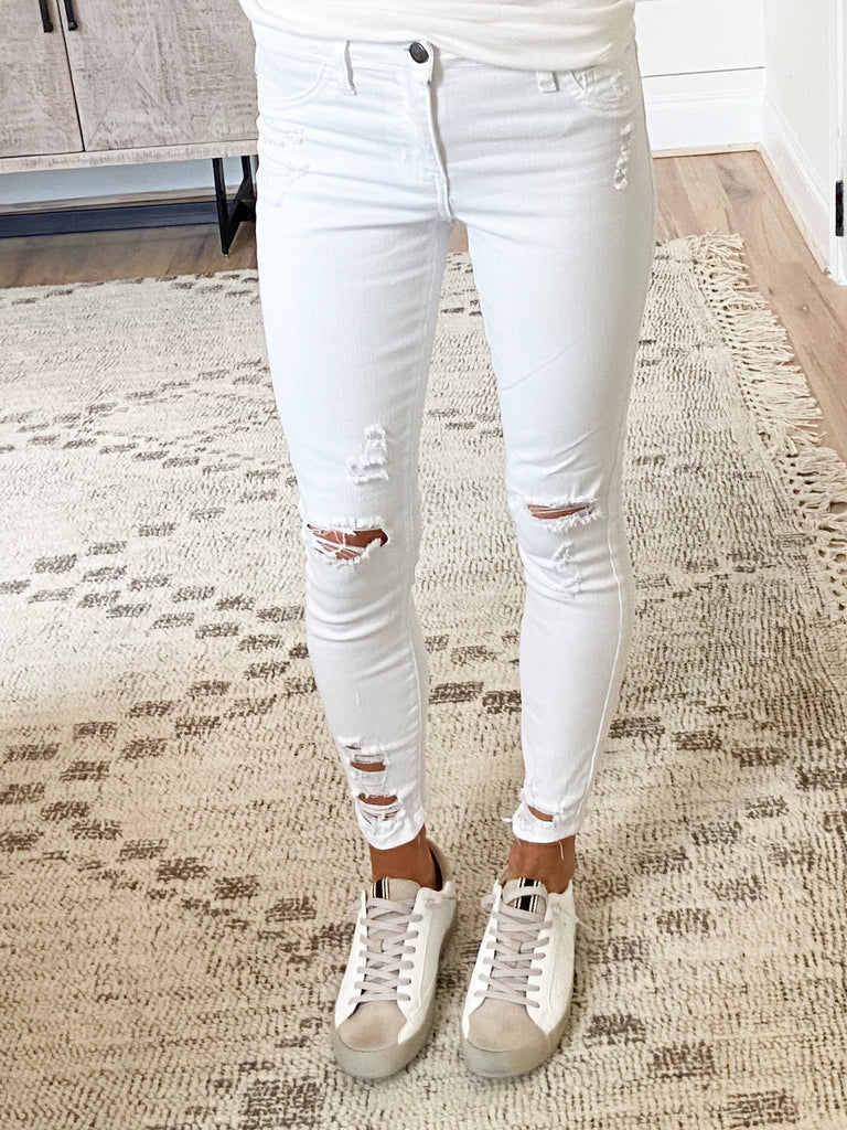 Kasey Distressed Skinnies | White