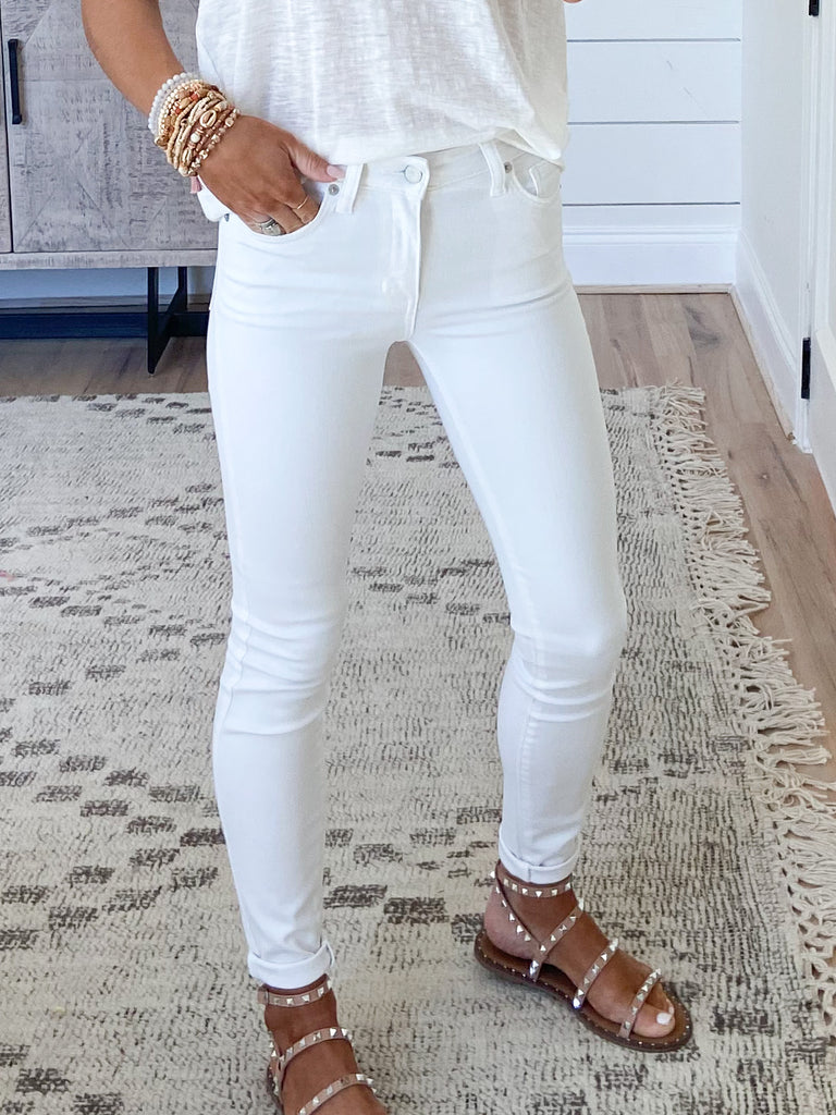 Be Mine Mid-Rise Skinnies | White