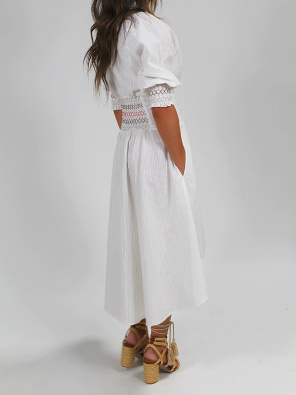 Smocked Hi-Low Dress | White FINAL SALE