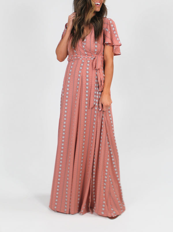 Mauve Maxi Wrap Dress
