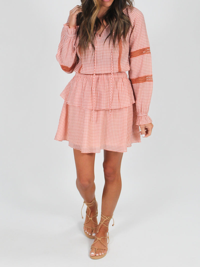 Ruffle Checkered Dress | Rust FINAL SALE