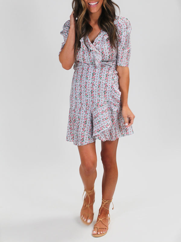 Floral Ruffle Wrap Dress | White FINAL SALE