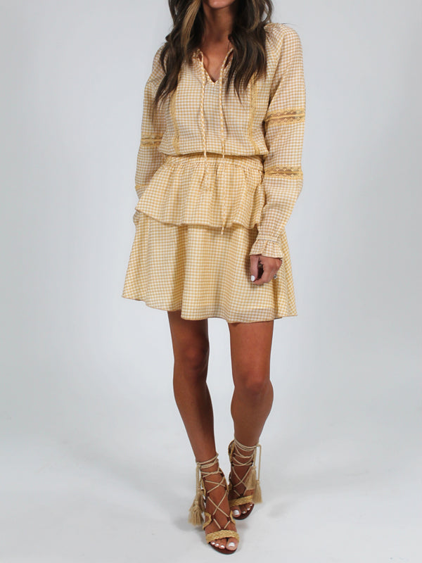 Ruffle Checkered Dress | Mustard FINAL SALE