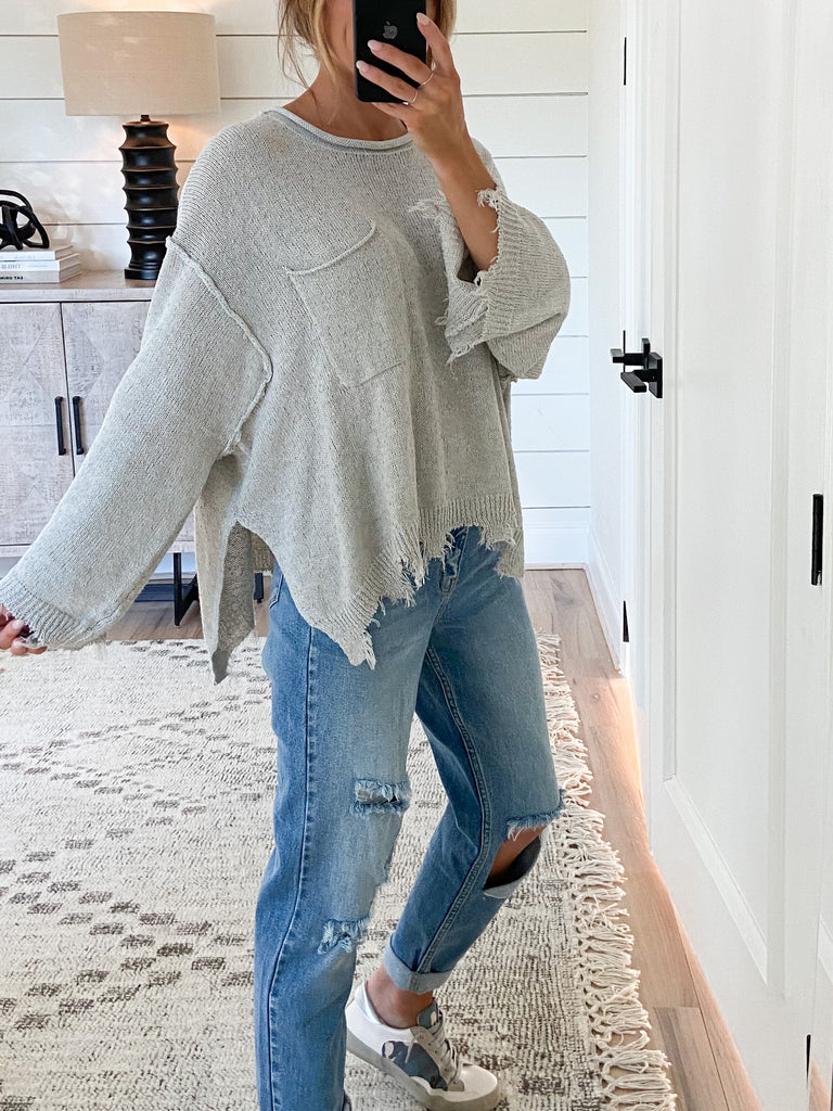 Cutting Edge Knit Top | Grey
