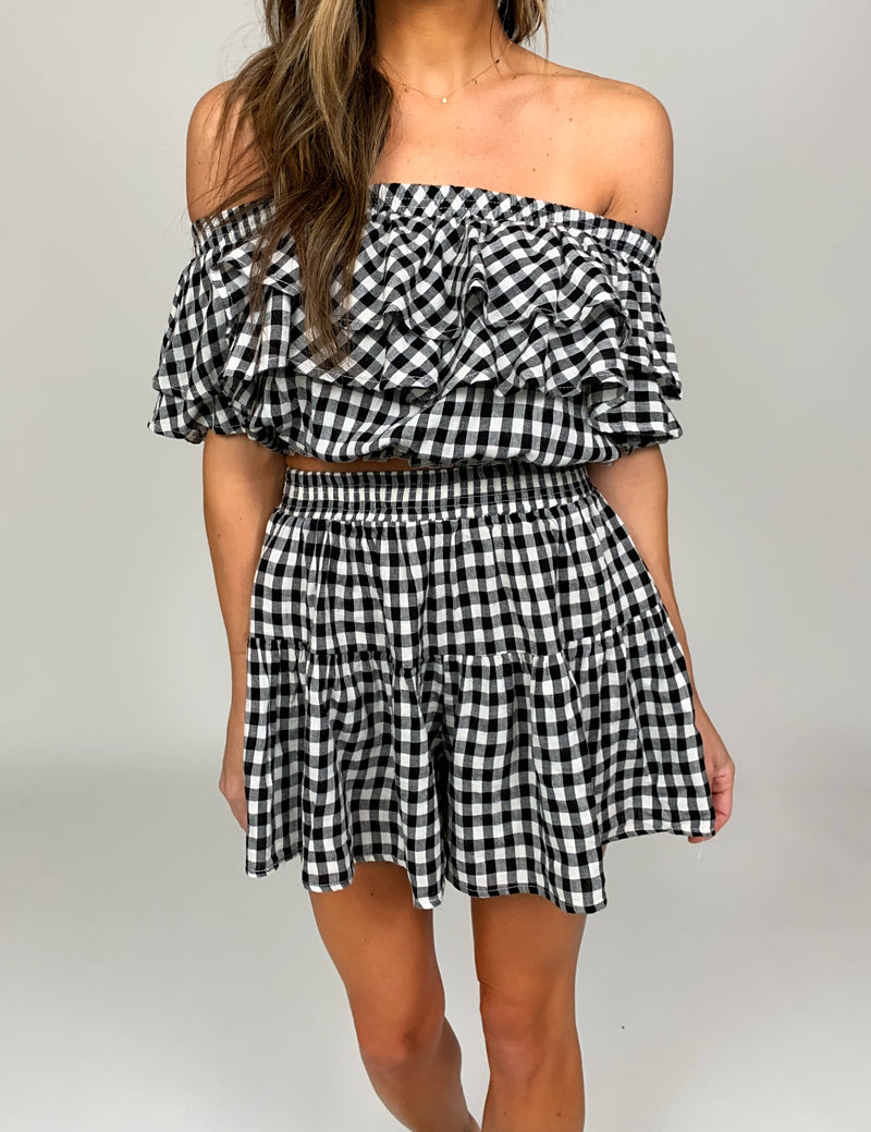 Gingham Top | Black