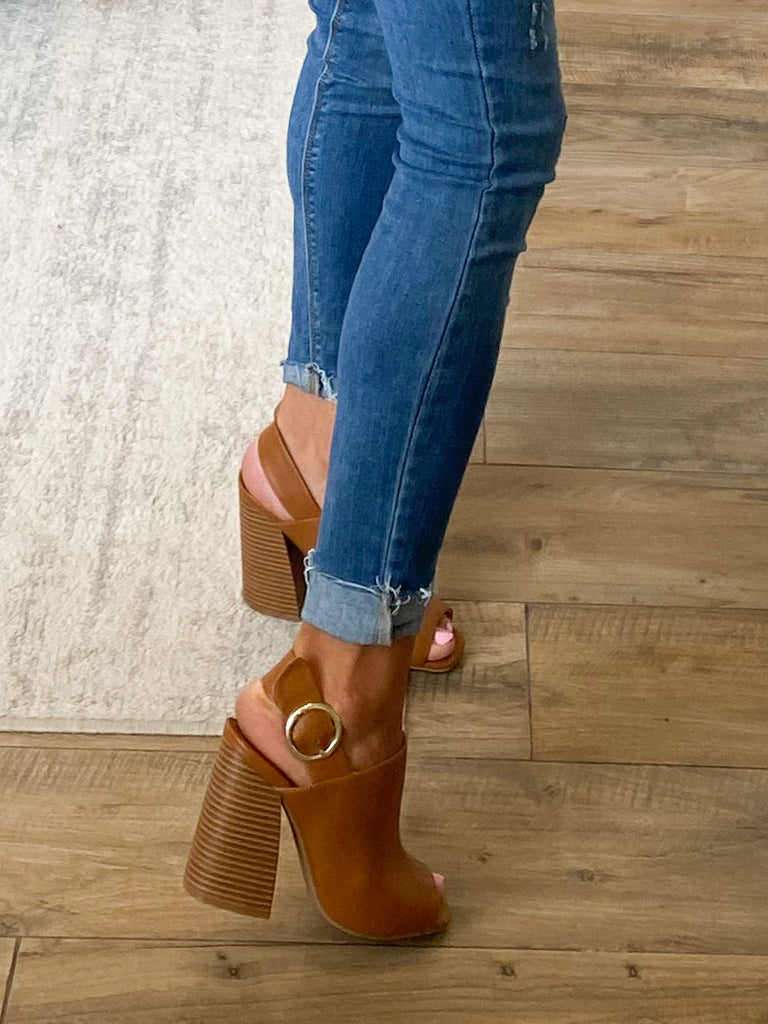 Chandler Peep-Toe Heel | Camel | FINAL SALE