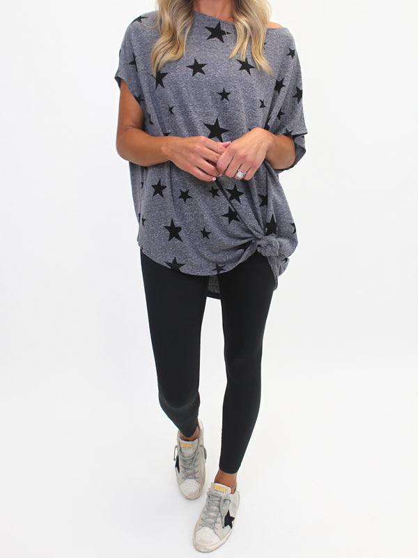 Oversized Star Tee | Black (S-3X)
