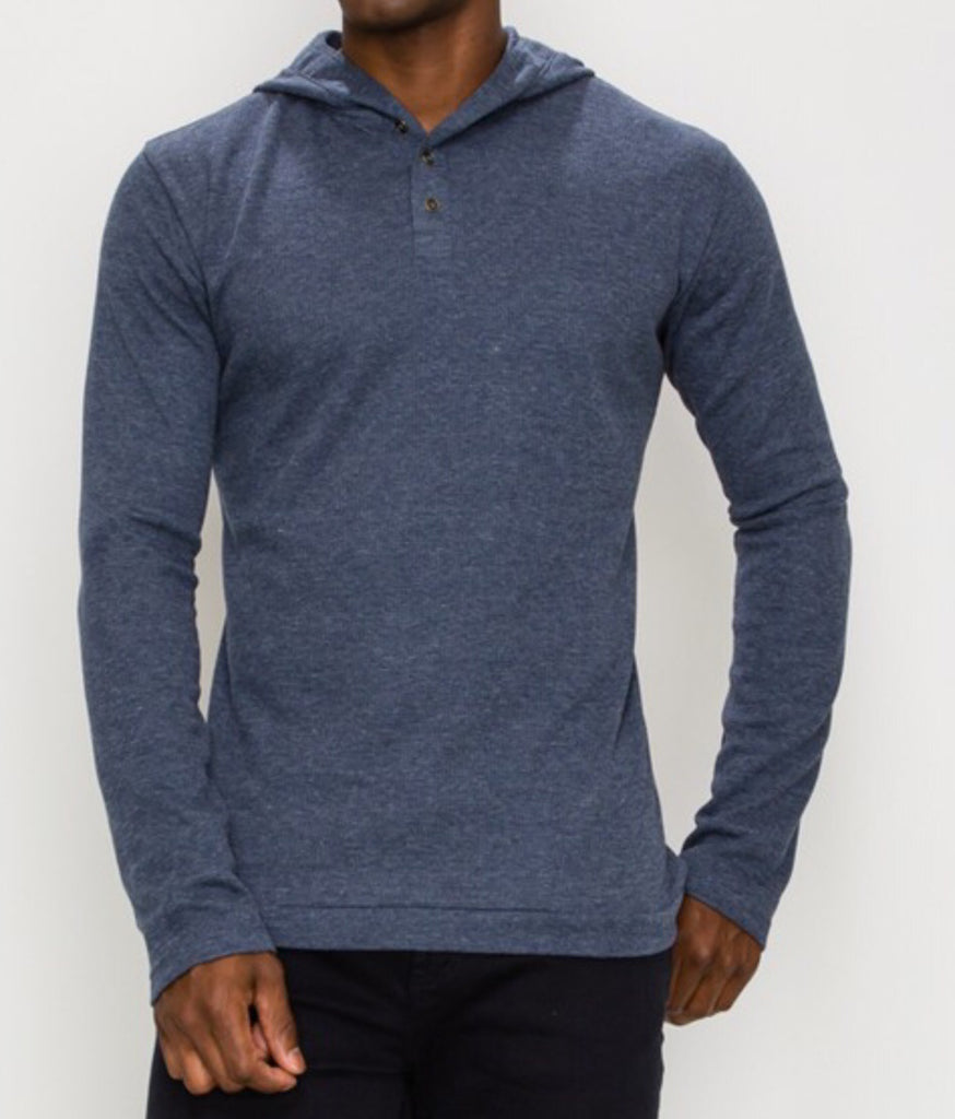 Vinnie Hooded Henley | TAL | Heather Blue | FINAL SALE