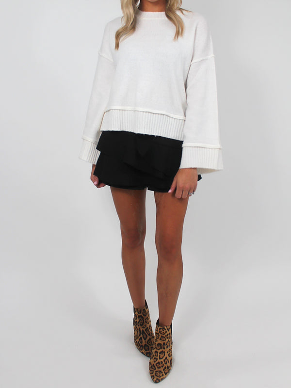 Audrina Cropped Sweater | IVORY