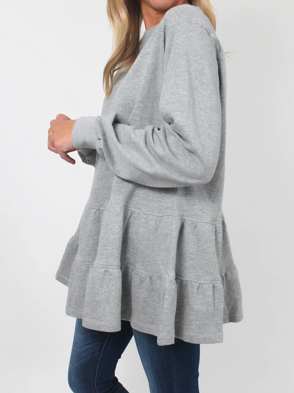 Peplum Pullover | Heathered Grey