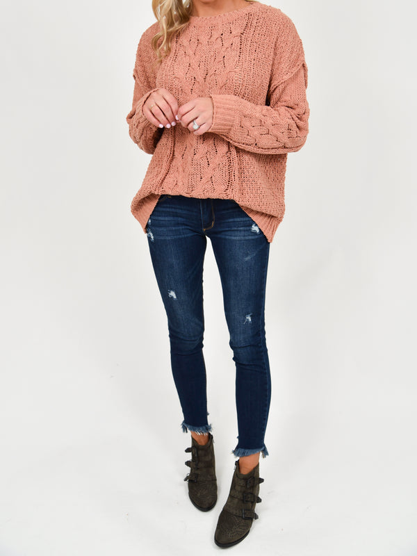 Sutton Cable Knit Sweater | Blush