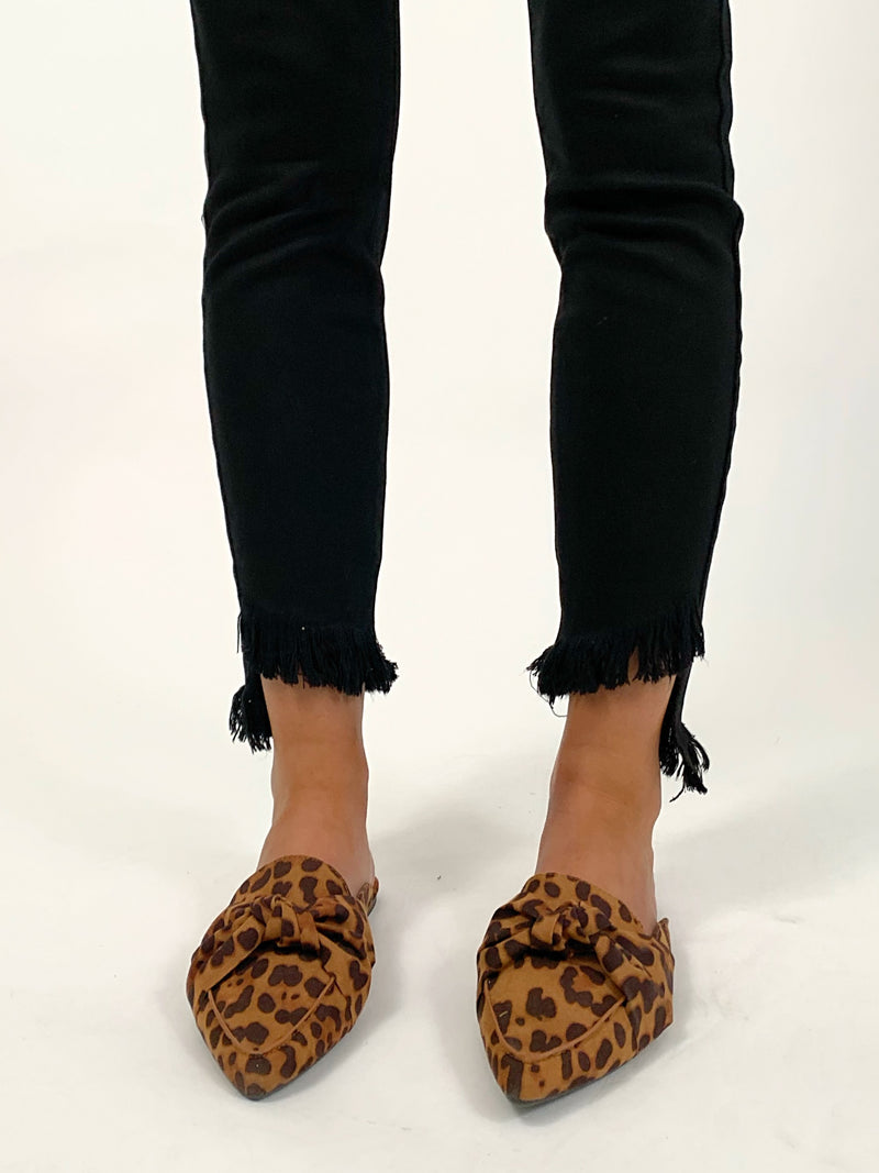 Leopard Twist Pointed Mules