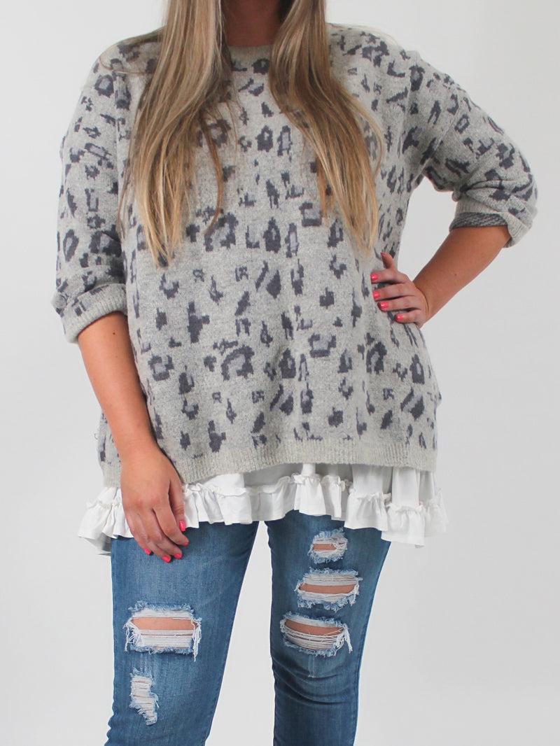 Grey Leopard Sweater (1X-3X)