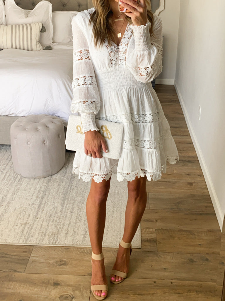 Chateau Lace Dress | White