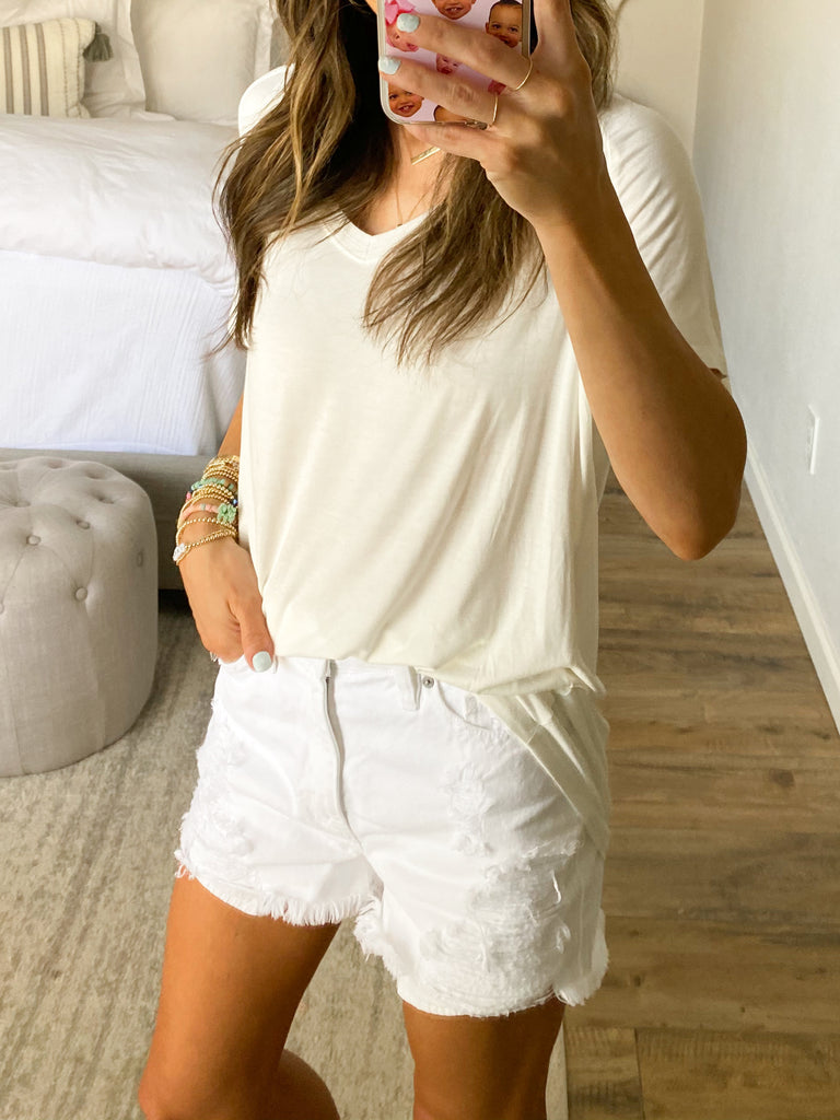High Tide Distressed Denim Shorts | White