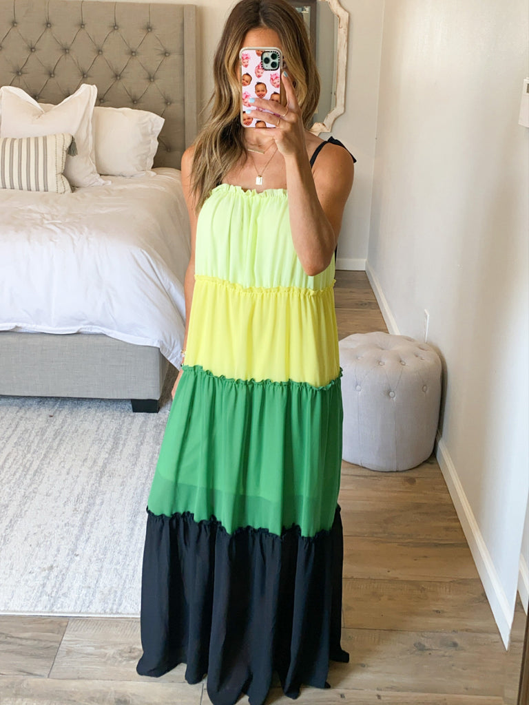 Colorblock Maxi Dress | Lime