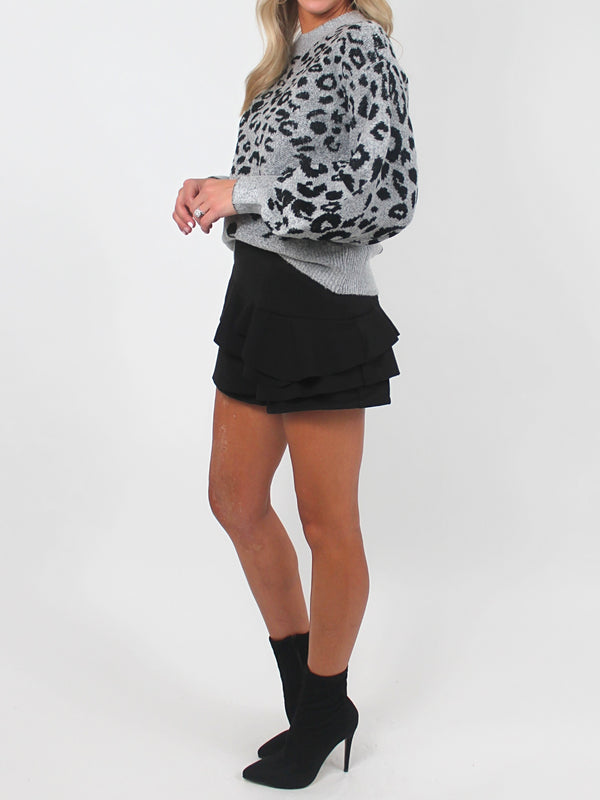 Puff Sleeve Leopard Sweater