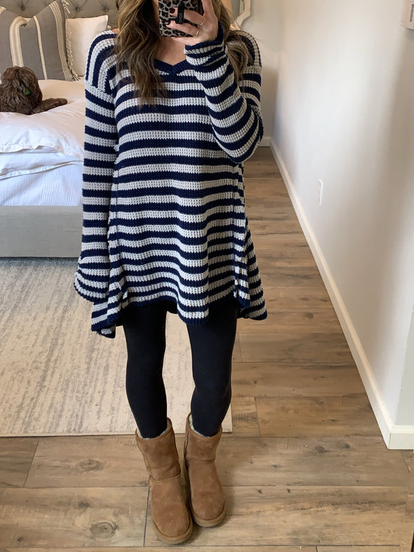 Walker Waffle Knit Stripe Top | Navy