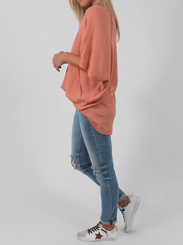 Waffle Knit Tee | Blush (Plus Available)
