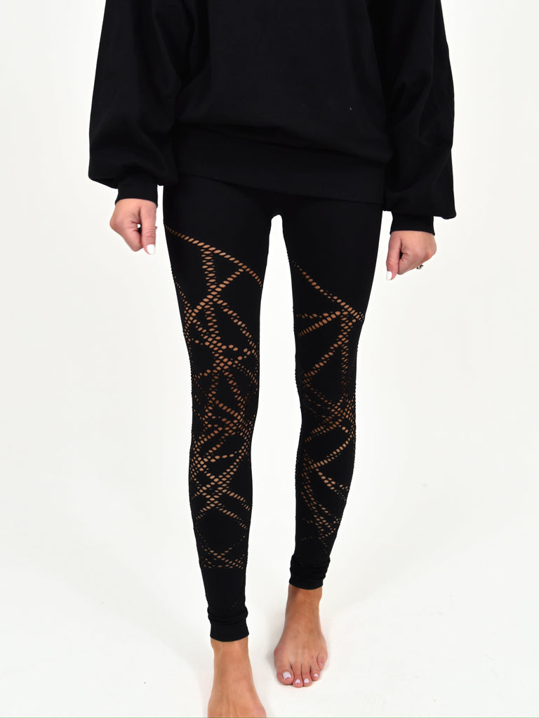 Laser Cut Leggings | Black