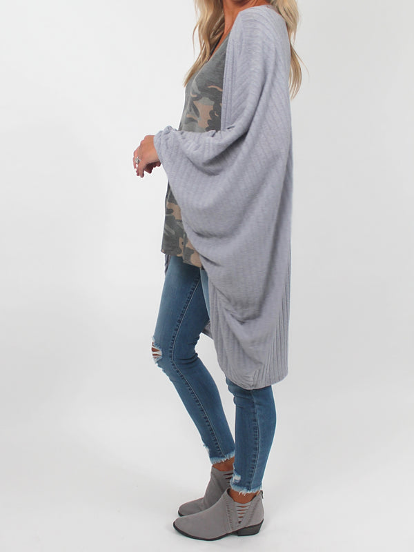 Ribbed Dolman Sleeve Cardigan l Grey