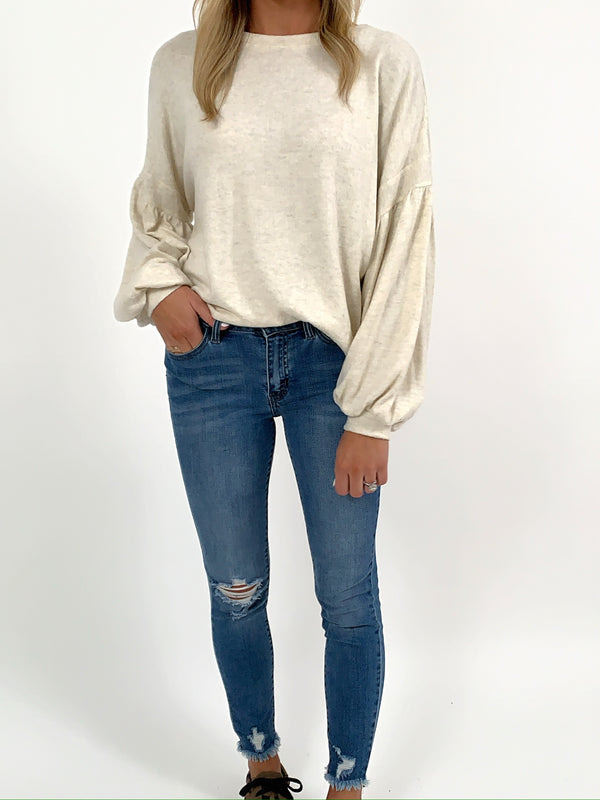 Ellis Puff Sleeve Top | Oatmeal