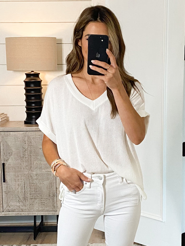 Brynlee Ribbed Top | White | +Plus Available