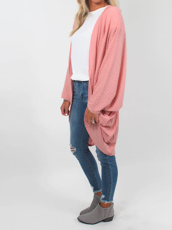 Ribbed Dolman Sleeve Cardigan l Blush