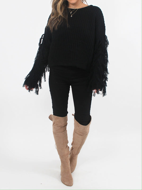 Jessie Fringe Sweater | Black