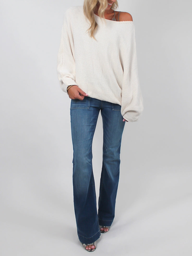 Slouchy Chenille Sweater | Cream