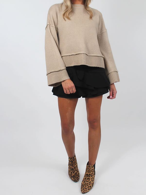 Audrina Cropped Sweater | LATTE