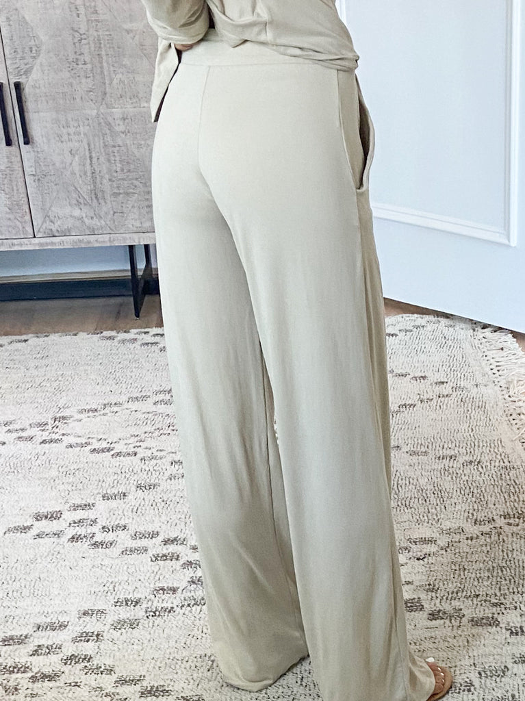Hayes Wide Leg Pants | Oatmeal | +Plus Available