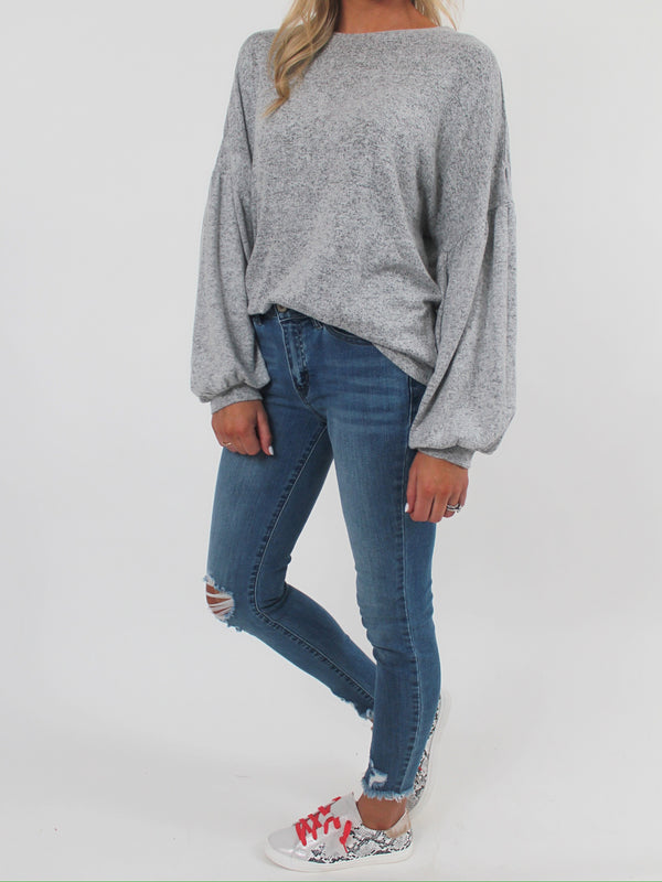 Ellis Puff Sleeve Top | Heathered Grey