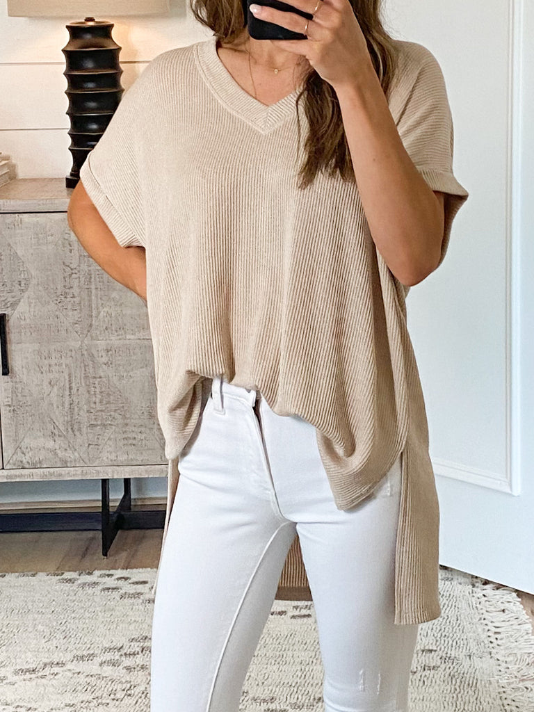 Brynlee Ribbed Top | Taupe | +Plus Available