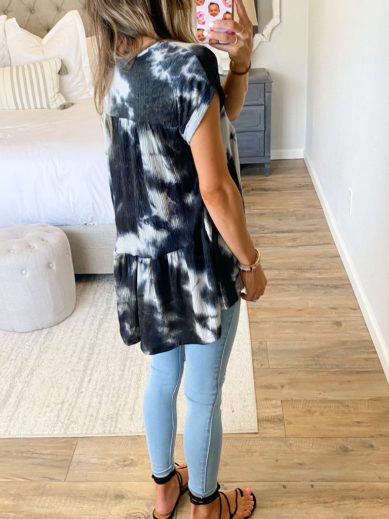 Simply Sweet Tie-Dye Top | Black | +Plus Available