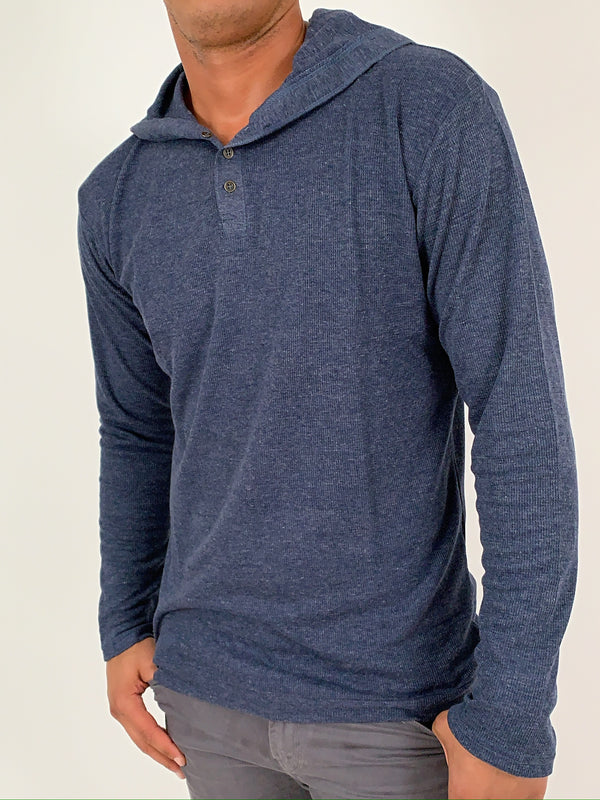 Vinnie Hooded Henley | TAL | Heather Blue