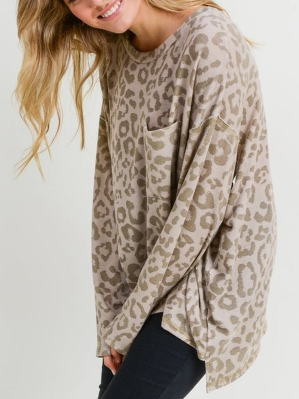 Scout Soft Leopard Top | Oatmeal