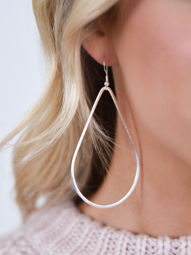 Tear Drop Large Hoop | Gold + Silver