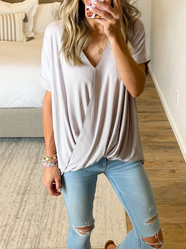 Hampton Wrap Top | Stone