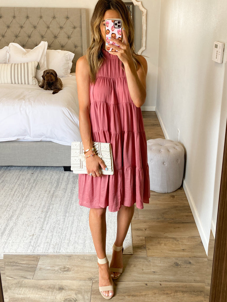 Avalon Tiered Dress | Dusty Rose
