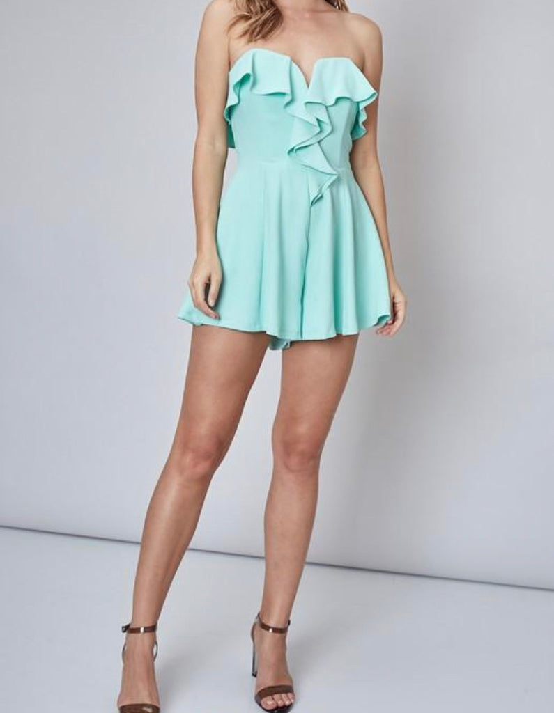 Mint To Be Ruffled Romper | FINAL SALE