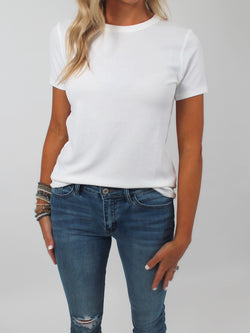 Everyday Ribbed Fitted Tee | White