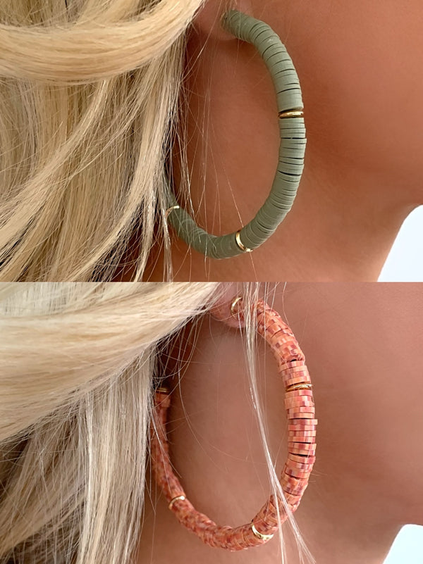 Clay Hoop Earrings | 2 Colors Available