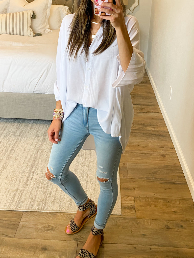 Wide Open Blouse | White
